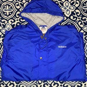 Vintage 90s Adidas Blue/White windbreaker jacket.